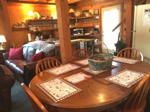 Table with ample seating for a group.